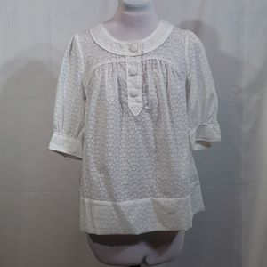 NWT French Connection White Sheer Blouse Size 8